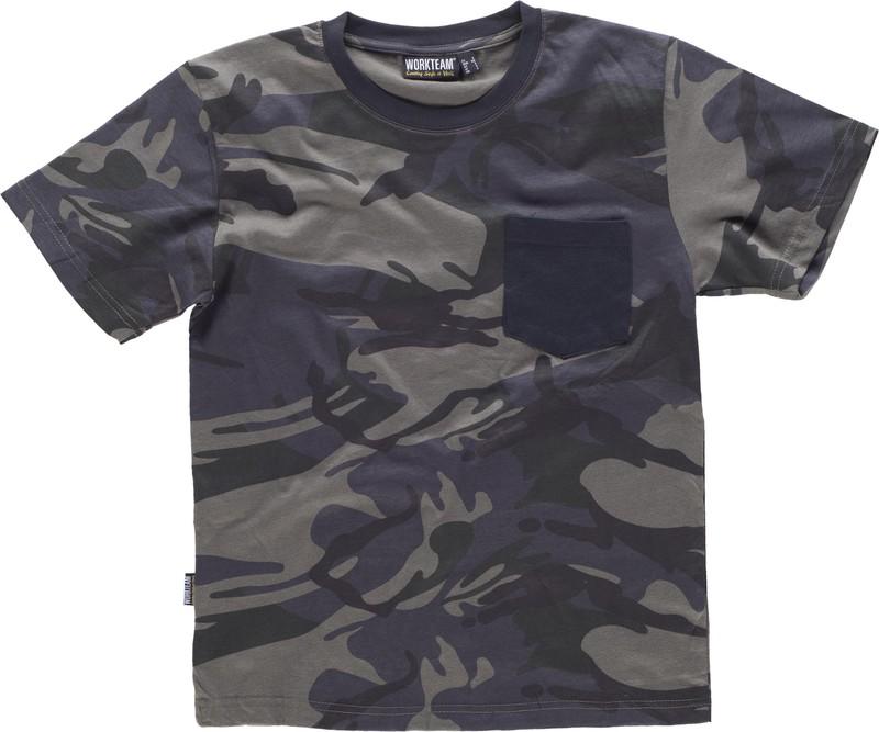 4ec2af833e8 Camiseta camuflaje manga corta combinada con negro Camuflage Gris Negro