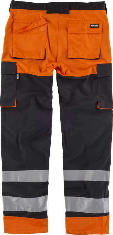 A Negro Reflectantes Pantalón Tamaños Multibolsillos Cintas Diferentes Naranja Visibilidad v Alta eodCxrBW