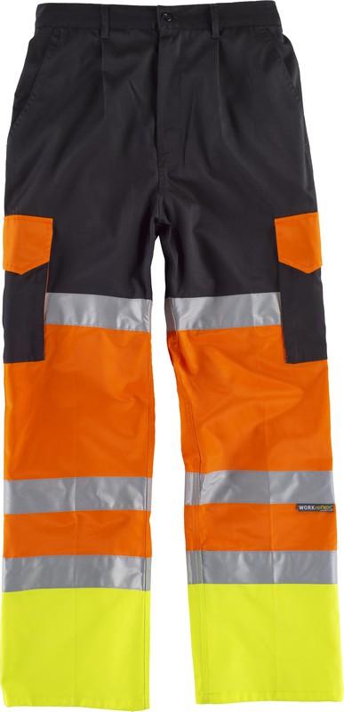 Pantalón En Reflectantes 2013 Naranja Av Cintas Negro Amarillo Visibilidad Y Iso20471 Multibolsillos De Alta DH9I2WE