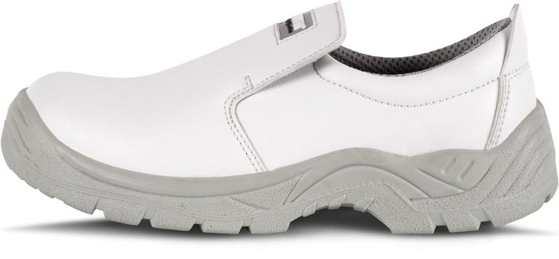 mitad de descuento f21c6 21f97 Zapato de microfibra sin cordones, especial alimentación Puntera de acero  anti impactos Blanco